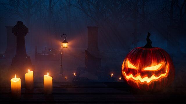 Jack O' Lantern in Spooky Woodland Churchyard. Halloween background.