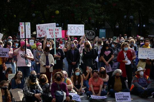 Supporters of reproductive choice take part in the nationwide Women's March in Seattle