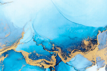 Fototapeta Luxury blue abstract background of marble liquid ink art painting on paper . Image of original artwork watercolor alcohol ink paint on high quality paper texture . obraz