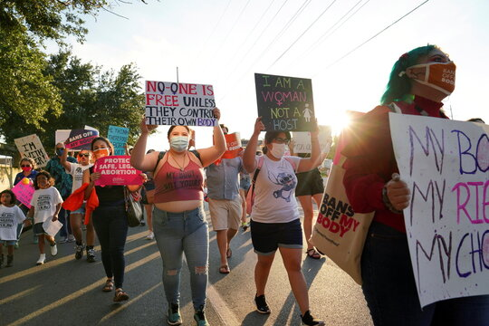 Supporters of reproductive choice take part in the nationwide Women's March in Texas
