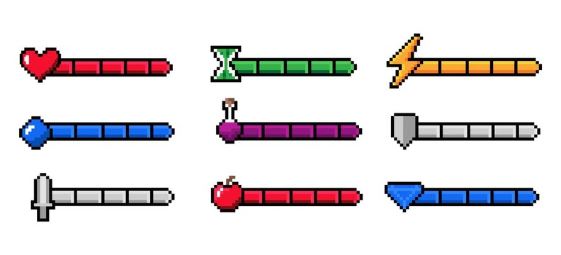 Arcade game progress bar. 8-bit indicators of health and stamina, money or energy. Gaming experience infographic. Weapon measurement. Life level charts. Vector interface pixel elements set