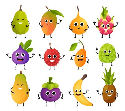 Exotic fruit characters. Cute food mascots. Cartoon mango or banana with hands legs and funny emotion faces. Pineapple and pitaya emoticons mockup. Vector children menu decorations set
