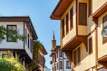 Fototapeta BURSA, TURKEY. AUGUST 15, 2021. Street view, buildings in traditional style. obraz