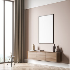 Obraz Corner view of beige living room with empty canvas and coffee table - fototapety do salonu