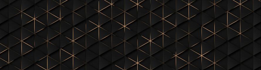Fototapeta Luxury triangle abstract black metal background with golden light lines. Dark 3d geometric texture illustration. Bright grid pattern. Pure black horizontal banner wallpaper. Carbon elegant wedding BG obraz