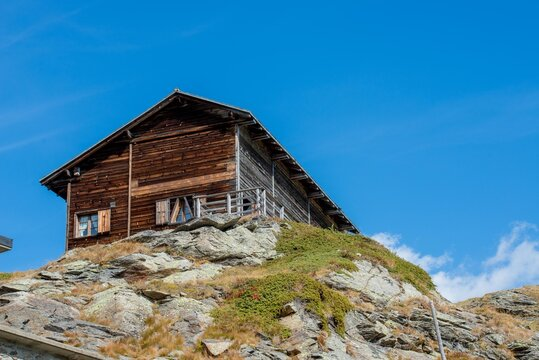 old wooden cottage at Bernina Pass