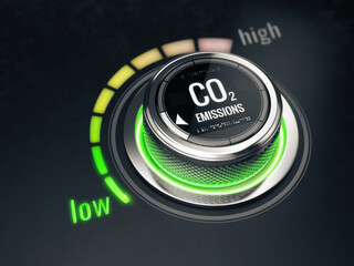 Fototapeta Reduce CO2 level concept. Carbon dioxide emissions control, CO2 level to the min position. 3d rendering obraz