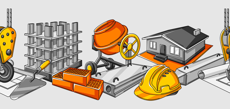 Seamless pattern with housing construction items. Industrial repair or building symbols.