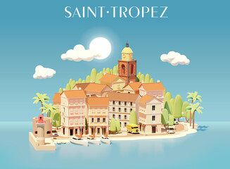 Vector Saint-Tropez, France, cityscape illustration. Town view from the sea. Buildings, streets, port with yachts, church tower, lighthouse