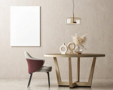 Dining room with mock-up poster, Scandinavian design. 3d illustration