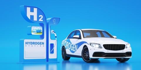 Obraz Hydrogen fuel charge. Hydrogen car. - fototapety do salonu