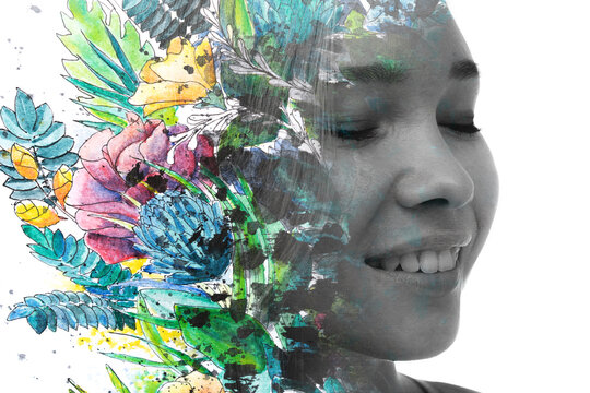 Paintigraphy. Colorful tropical plants combined with a black and white portrait