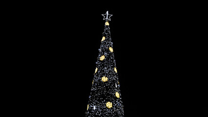 Fototapeta Huge christmas tree with lights at night background obraz