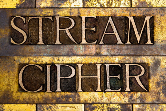 Stream Cipher text on textured grunge copper and vintage gold background
