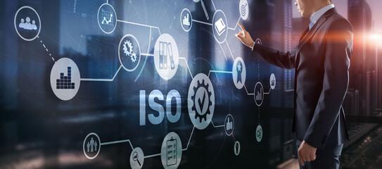 Fototapeta ISO certification concept standard quality control. International information security standard obraz
