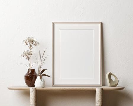 Living room with mock-up poster for presentation, 3d illustration.