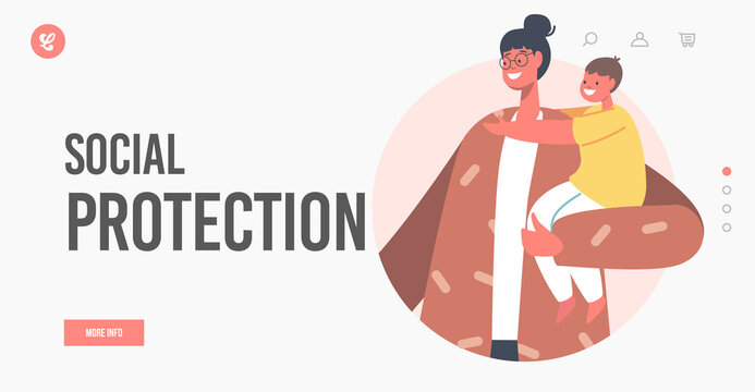 Social Protection Landing Page Template. Happy Young Mother Holding Little Child on Hands. Family Support, Maternity