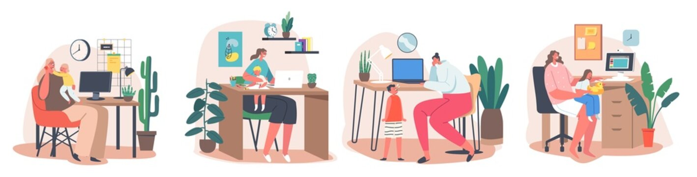 Maternity and Career Concept. Business Mom Working at Home. Mother with Kids Sitting at Desk Working on Computers