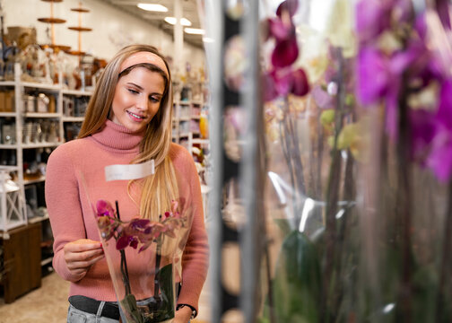 Pretty young woman holding orchid in pot and smiling, buying flowers for her home