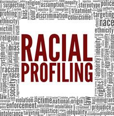 Fototapeta Racial profiling vector illustration word cloud isolated on white background. obraz