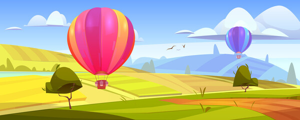 Obraz Summer landscape with flying hot air balloons, green fields, river and road. Vector cartoon illustration of countryside with colorful airships with baskets fly over meadows and grassland on hills - fototapety do salonu