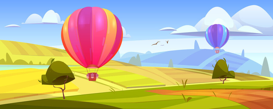 Summer landscape with flying hot air balloons, green fields, river and road. Vector cartoon illustration of countryside with colorful airships with baskets fly over meadows and grassland on hills