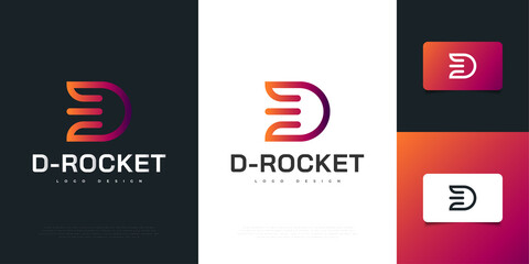 Fototapeta Modern Letter D Logo Design with Rocket Concept in Colorful Style. D Symbol for your Business Company and Corporate identity obraz