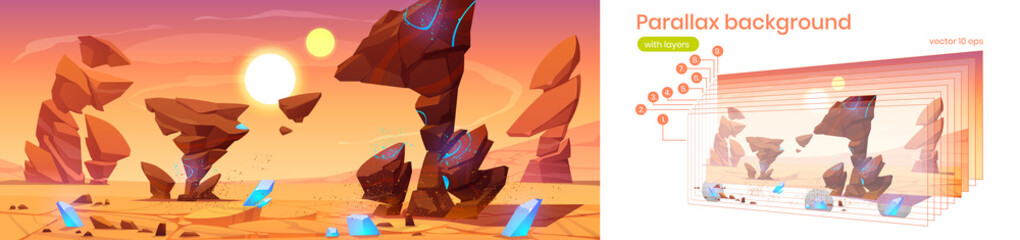 Fototapeta Parallax background alien planet 2d landscape in space, fantasy cosmic land with rocks, blue crystals, two suns on sky. Martian extraterrestrial computer game backdrop, cartoon separated vector layers obraz