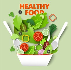 Fototapeta Fresh vegetable slices falling in the bowl, vector paper cut illustration. Healthy diet, vegetarian food. Cooking salad. obraz