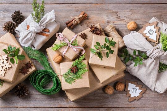 Zero waste Christmas concept, handmade gift boxes, furoshiki style