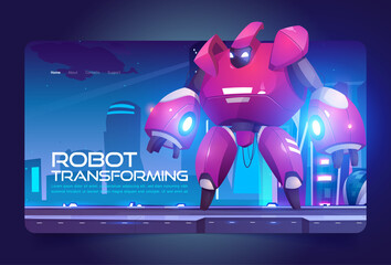 Fototapeta Robot transforming banner with red cyborg character in futuristic city. Vector landing page with cartoon illustration of transformer, metal robotic hero on background of fantastic cityscape obraz
