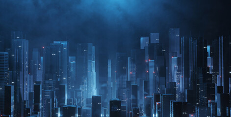 Fototapeta 3D Rendering of futuristic virtual sci fi city. Many high sky scrapper building towers.  Concept for night life, business vision, cyberpunk, technology product background obraz