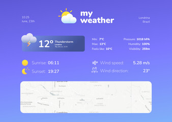 Cold weather app screen model ui/ux concept