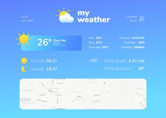 Nice weather app screen model ui/ux concept