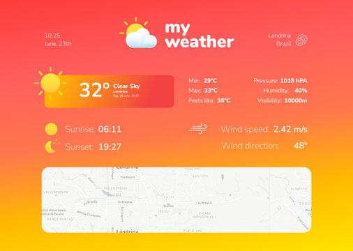 Hot weather app screen model ui/ux concept