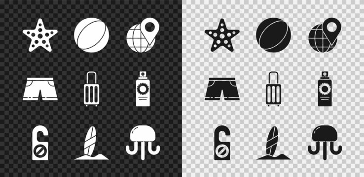 Set Starfish, Beach ball, Location on the globe, Please do not disturb, Surfboard, Jellyfish, Swimming trunks and Suitcase icon. Vector