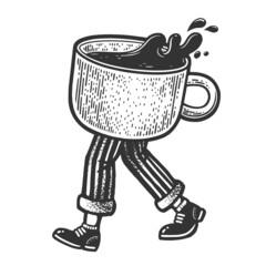 Fototapeta Walking espresso coffee cup sketch engraving vector illustration. T-shirt apparel print design. Scratch board imitation. Black and white hand drawn image. obraz