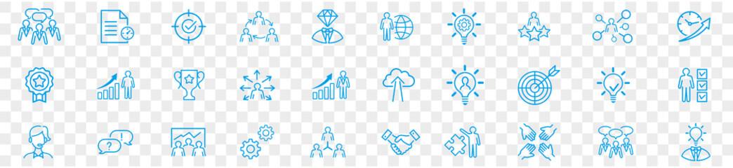 Fototapeta Business teamwork, work group, human resources, and team building icon set.  obraz