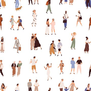 Seamless pattern with people outdoors on white background. Texture design with crowd of characters on city street, walking on different businesses. Colored flat vector illustration for printing