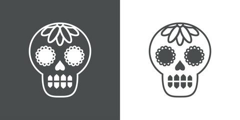 Fototapeta Logotipo con calavera del Día de los muertos en fondo gris y fondo blanco obraz