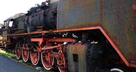 Old steam locomotive - rusty retro machine