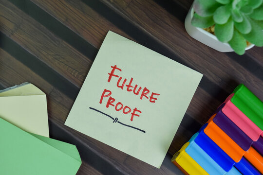 Future Proof write on sticky notes isolated on Wooden Table.