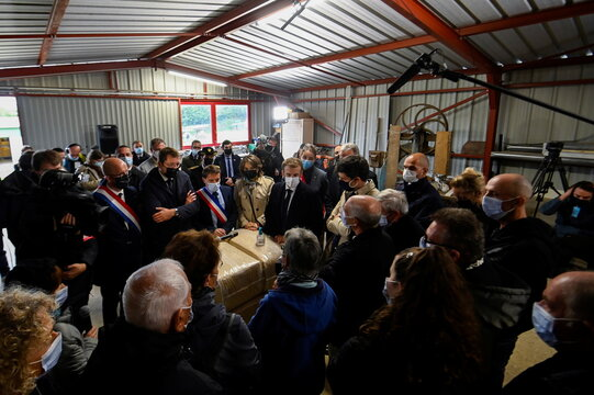 French President Macron visits a shelter for dogs and cats in Gray