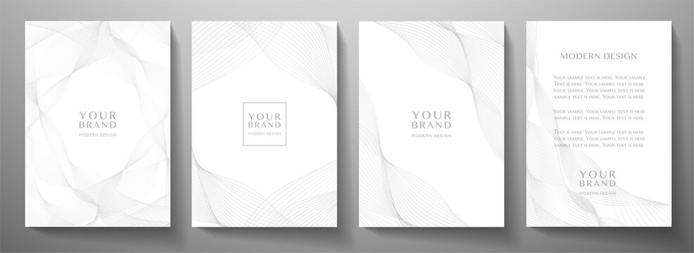 Contemporary technology cover design set. White background with grey line pattern (guilloche curves). Premium vector tech backdrop for formal  business layout, digital certificate, brochure templat