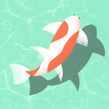 Cute carp fish Illustration on soft green water background