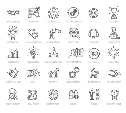 Simple Set of Team Work Related Vector Line Icons.