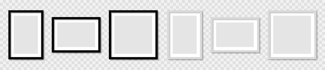Fototapeta Set realistic picture photo frame mockup, wall presentation, frame with shadow, blank frame border mockups, isolated pictures frames mock-up in different forms - stock vector obraz