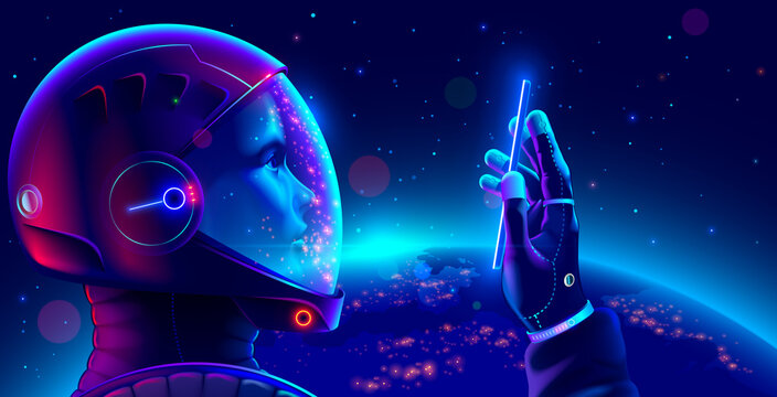 Cosmonaut in space suit in outer space with phone in hand looks at screen and makes selfie. Astronaut wearing helmet holds smartphone on orbit of planet Earth. Space tourist in spacesuit in cosmos.