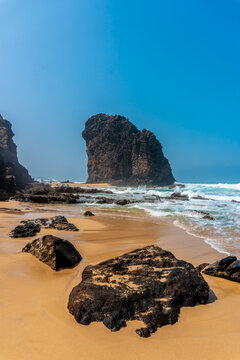 Roque Del Moro from Cofete beach in the Jandia natural park, Barlovento, south of Fuerteventura, Canary Islands. Spain