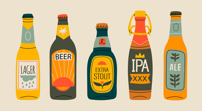Various green, brown, yellow glass Beer bottles. Different beer types, labels. Hand drawn trendy Vector illustration. Every bottle is isolated. Brewery concept. Design elements for restaurant, pub